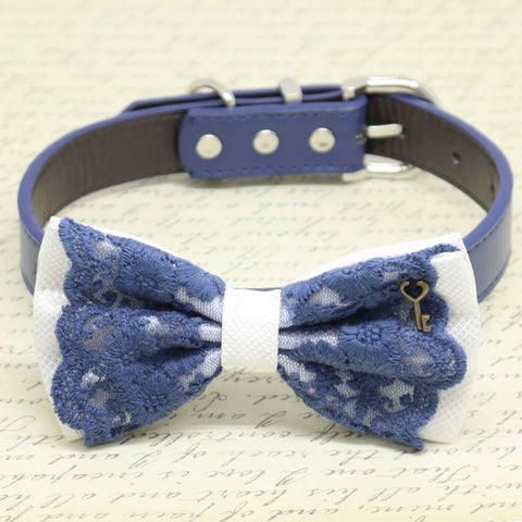 White and Navy Lace dog bow tie collar, Charm Key of Heart, Pet wedding, Birthday