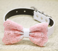 White Pink Lace Dog Bow Tie collar, Summer Beach Wedding, Lace Pet wedding
