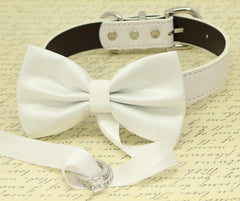 White Dog Bow Tie, Dog ring bearer, Pet Wedding accessory, Pet lovers, White bow attached to White dog collar