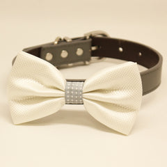 White dog bow tie collar, White and Gray, Leather collar