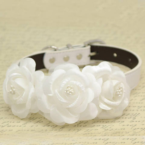 White Dog Collars with white flowers, High Quality, Wedding dog accessory