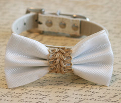 White dog bow tie, White wedding dog collar, Country wedding, Beach wedding,White Bow attached to leather collar, Rustic wedding - LA Dog Store  - 1
