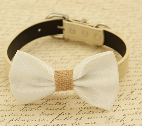 White dog bow tie collar, Country Rustic wedding, white wedding ideas , Wedding dog collar