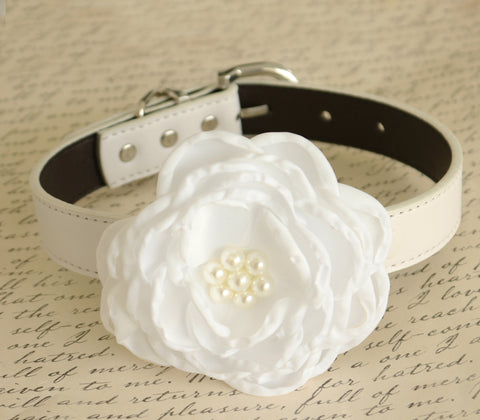 White Floral dog collar, Wedding, Dog birthday, Pet accessory