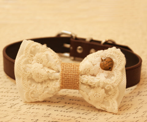 White Dog Bow Tie attached to collar, Pet wedding, Lace bow tie, Charm