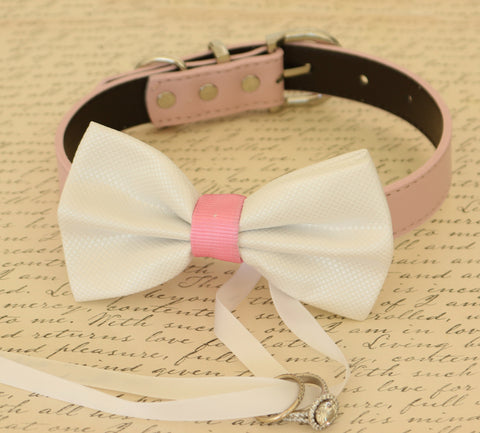 White Dog Bow Tie attached to collar, ring bearer, Pet Wedding, Proposal ideas