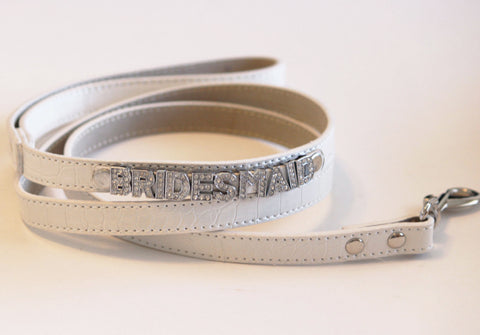 Bridesmaid, White Leash,Bridesmaid Wedding accessory,White Dog leash with bling, Pet Wedding Accessory , Wedding dog collar