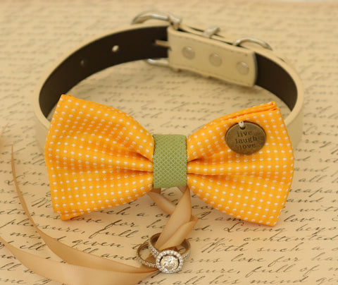 Yellow Dog Bow Tie ring bearer, Yellow and green pet wedding dog ideas , Wedding dog collar