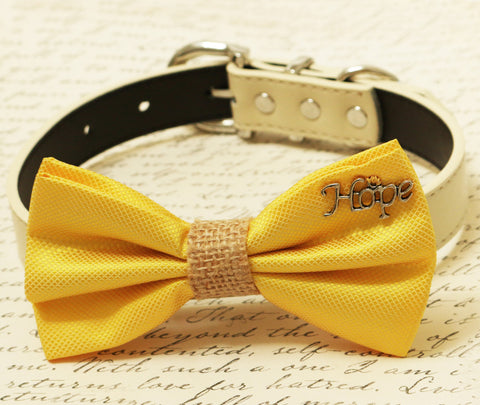 Yellow Dog Bow Tie attached to dog collar, Pet wedding accessory, Burlap, Charm