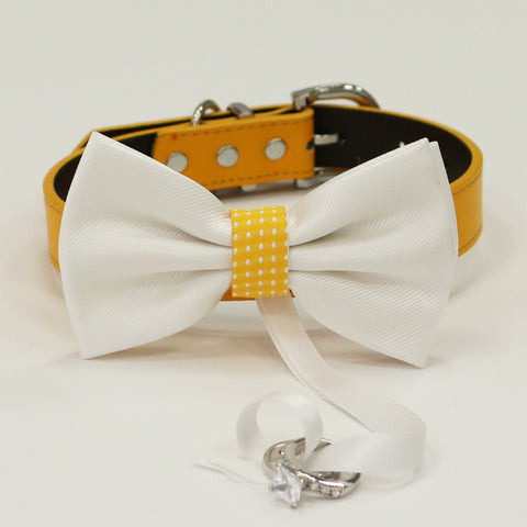 Sunny Yellow Dog Bow Tie ring bearer collar, Yellow leather collar, White leather dog collar, Dog ring bearer, Proposal, Dog of honor