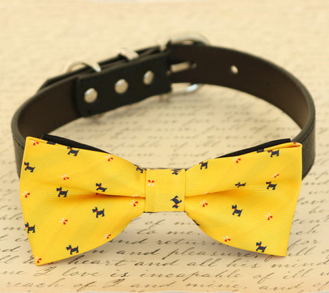 Yellow Dog Bow tie collar, pet wedding beach accessory, dog prints