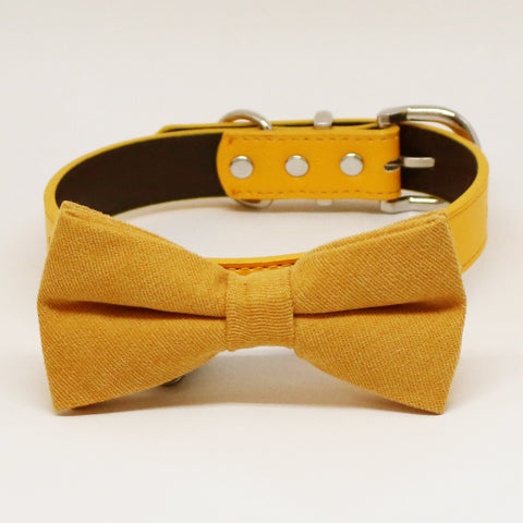 Marigold  bow tie dog collar, Black Gray Brown Ivory Champagne Copper Gold or Yellow leatherdog collar, Puppy bow collar, Marigold  wedding