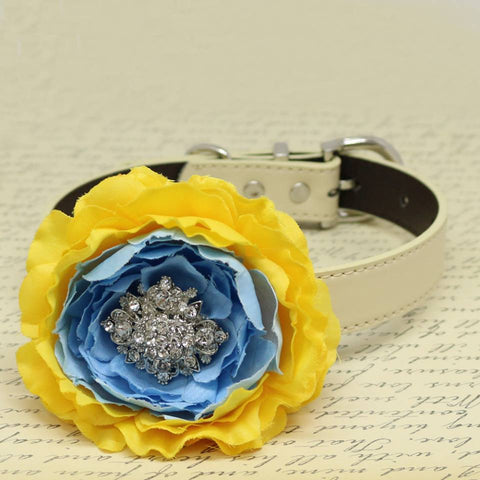 Yellow Blue Floral Dog Collar, Pet Wedding, Flower with Rhinestone, Puppy Love