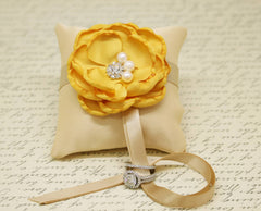 Yellow Wedding Champagne Ring Pillow Dog Collar, Yellow Flower with Pearls Rhinestone