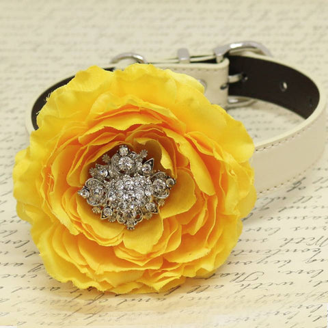 Yellow Floral dog Collar, Rhinestone, Wedding Pet accessory, Peony Flower