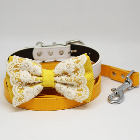 Yellow Bow tie, Dog collar, Citrus Leash, Handmade Gift, Pets wedding, Lace