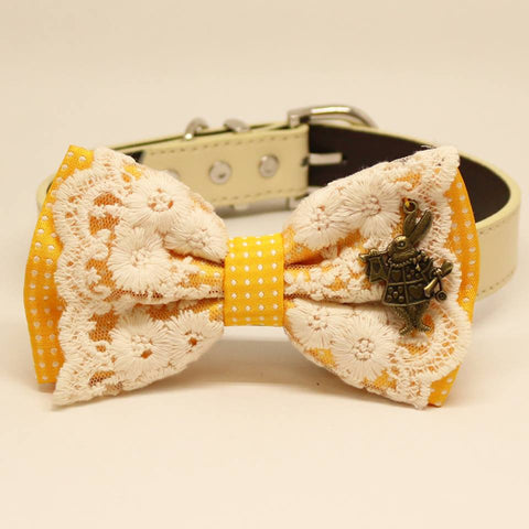 Yellow Polka Dots Lace dog bow tie collar, Pet wedding, White Rabbit Alice in Wonderland , Wedding dog collar
