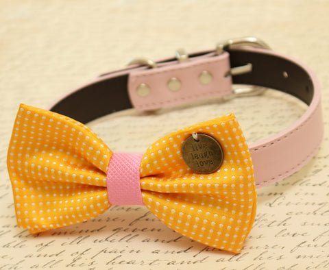 Yellow Bow Tie attached to dog collar, Pet wedding, Charm, Live, Love, Laugh
