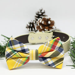 Plaid dog Yellow Blue bow tie Collar, Wedding lovers, dog birthday gift, Christmas Pet accessory