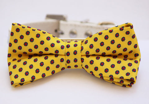 Yellow dog bow tie attached to collar, Spring wedding, Pet wedding