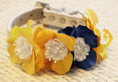 Yellow Blue Floral Dog Collar, High Quality Collar -Yellow Blue Wedding dog accessory, Floral Dog Collar - Flower and Pearls, Summer time - LA Dog Store  - 1