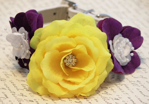 Purple and Yellow Dog Collar, Wedding dog accessory, Summer pet floral wedding