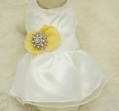 Yellow Dog Dress, Yellow Pet wedding accessory,dog clothing, Rhinestone, dog lovers, birthday gift, yellow wedding, Beach wedding - LA Dog Store  - 1