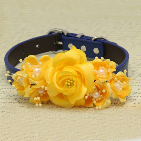 Yellow Floral Dog Collar, Pet Wedding, Handmade Gifts, Rose Flowers with Pearls , Wedding dog collar