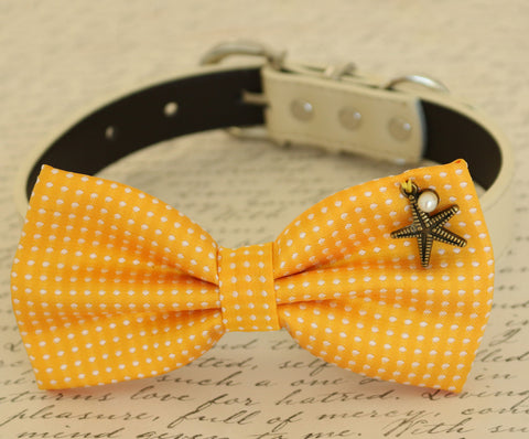 Yellow Dog Bow tie attached to collar, beach, Pet wedding accessory, Polka dots