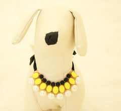 Yellow Pearl and Rhinestone Dog jewelry- Pet accessories, Pearl Necklace, Dog beaded Necklace