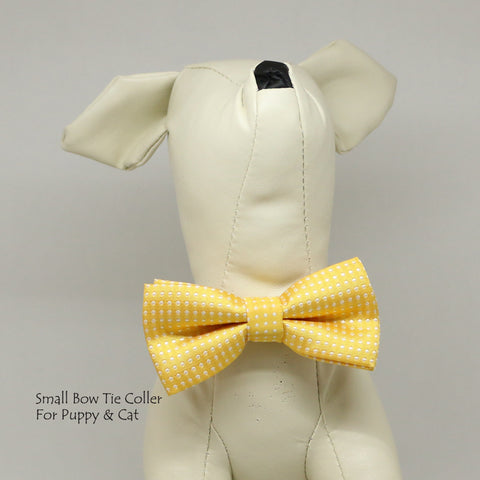 Lemon Chrome Polka dots  bow, Small bow tie collar, Puppy Collar, Cat collar, Cat bow tie collar , Wedding dog collar