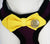Purple Dog Harness with Yellow bow and a black leash, Yellow bow with a charm, Love and Beloved, Dog Harness and leash, Dog Birthday Gift - LA Dog Store  - 2