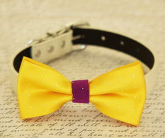Yellow dog bow tie collar, bow attached to dog collar, Yellow and violet, Dog Birthday gift, Colorful, dog lovers, Beach wedding - LA Dog Store  - 1