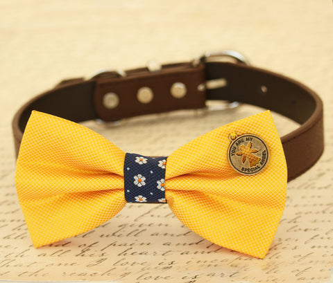 Yellow Dog Bow tie attached to collar, pet wedding accessory, birthday gift, Charm