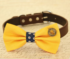 Yellow Dog Bow collar, Bow attached to dog collar, pet wedding accessory, dog birthday gift, Charm, you are my Angel, Beach, yellow wedding - LA Dog Store  - 1
