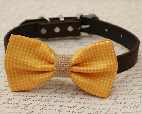 Yellow Dog Bow Tie attached to collar, Country Rustic wedding, Handmade gift , Wedding dog collar
