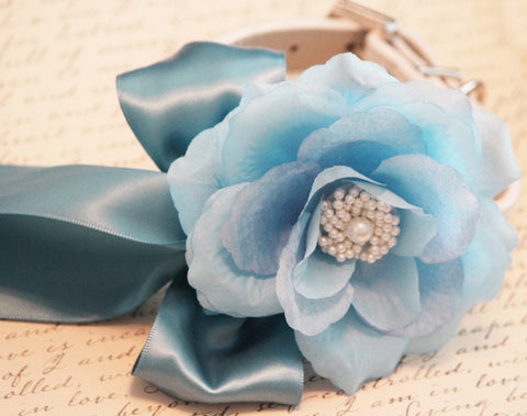 Blue wedding dog collars, floral Wedding dog accessory, Ocean, Turquoise