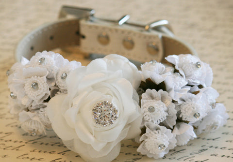 White Wedding Dog Collars, Floral Pet Wedding, white wedding