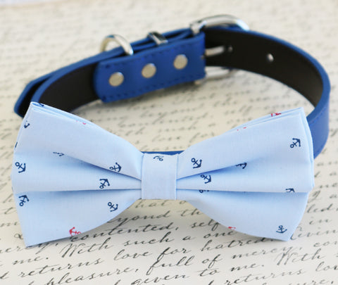 Nautical blue dog Bow tie Wedding collar, Beach wedding, Anchor