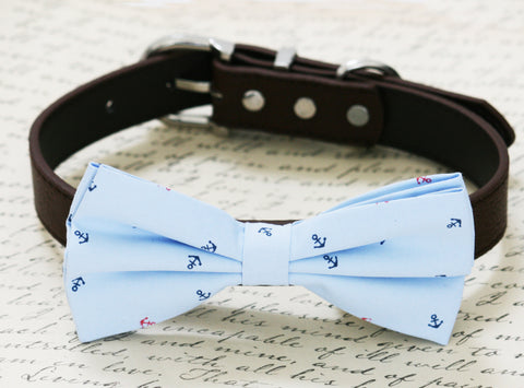 Blue dog bow tie, Beach Wedding accessory, Dog birthday, dog lovers, Anchor