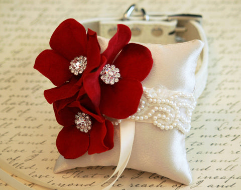 Red Ring Pillow attach to dog Collar, Pet wedding, Apple Red Wedding