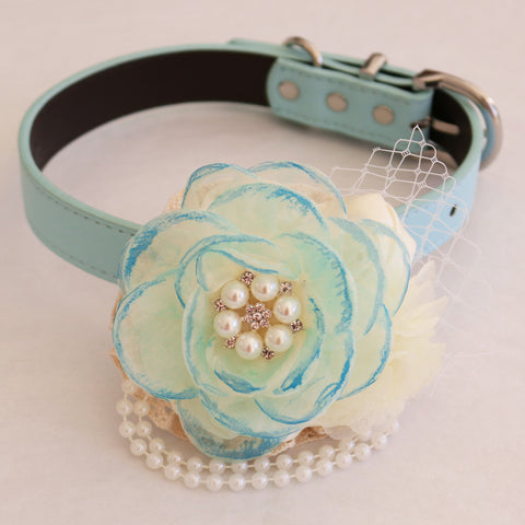 Aqua Flower dog collar, Hand-painted flower beaded pearl, handmade flower collar, Dog of honor, proposal or every day use, S to XXL collar , Wedding dog collar