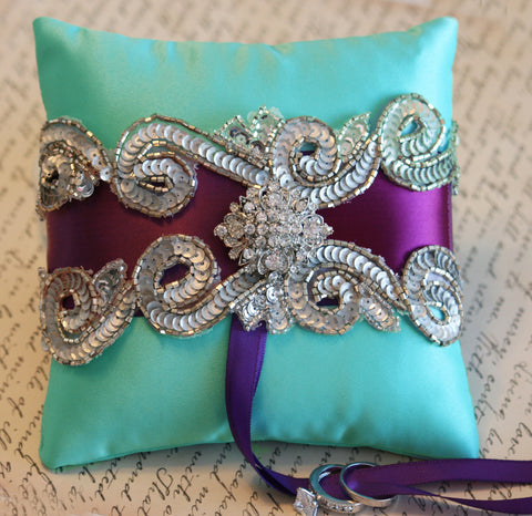 Aqua Purple Ring Pillow, Pillow attached to dog collar , Wedding dog collar