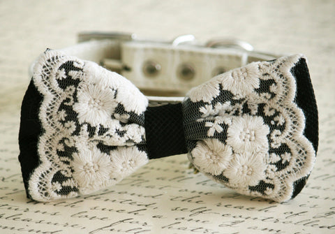 Lace Black Dog Bow Tie, Wedding Pet accessory, boho , Wedding dog collar