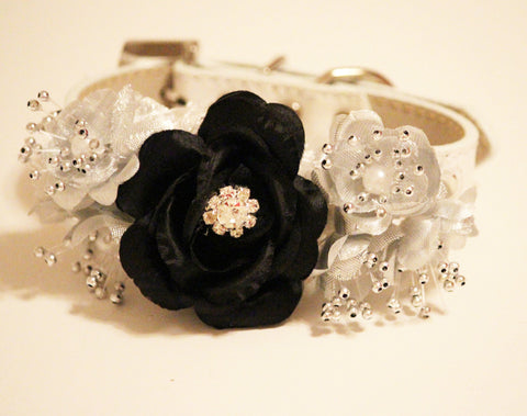 Black and Silver wedding Dog Collar with flowers, Floral wedding