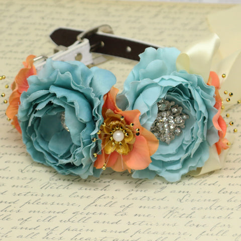 Blue coral Gold flower dog collar, Flower rhinestone beaded dog collar, leather dog collar, dog of honor, some thing blue,dog ring bearer