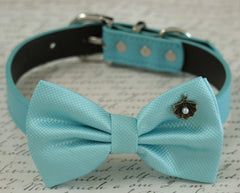 Blue Dog Bow tie collar, beach wedding accessory, Shell, Pearl, some thing blue