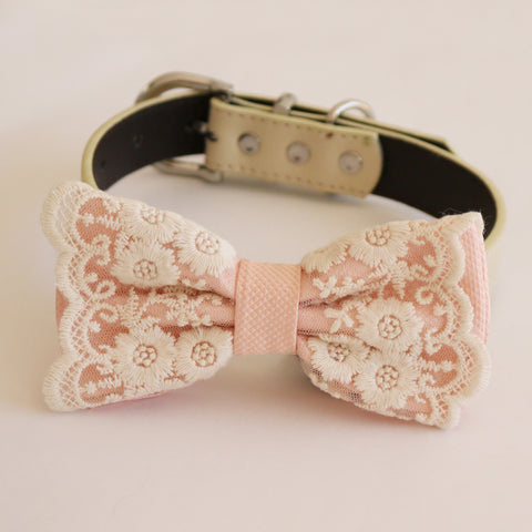 handmade Pearl blush bow tie dog collar girl collar, M to XXL Collar, dog of honor ring bearer, Handmade adjustable collar