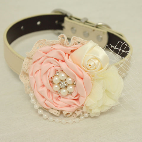 Blush Ivory pearl Rhinestone flower attach to Pink, Ivory, White, black, brown, Gray or Champagne leather collar, Blush flower collar , Wedding dog collar