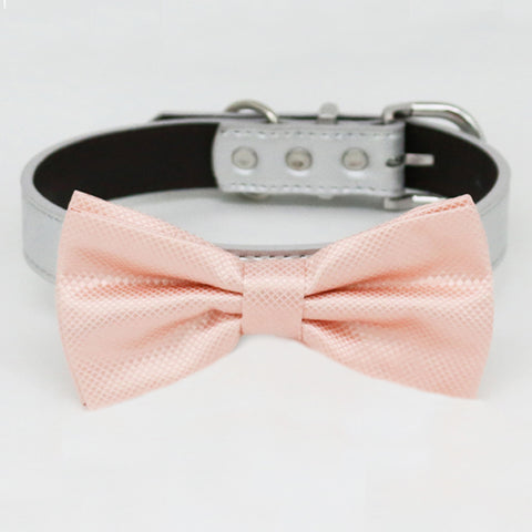 Pearl Blush bow tie collar dog of honor dog ring bearer XS to XXL collar and bow tie, adjustable Puppy bow tie handmade boy dog collar , Wedding dog collar